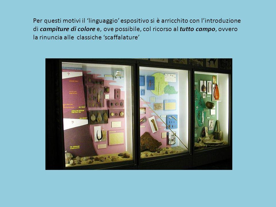 Per questi motivi il 'linguaggio' espositivo si è arricchito con l'introduzione di campiture di colore e, ove possibile, col ricorso al tutto campo, o