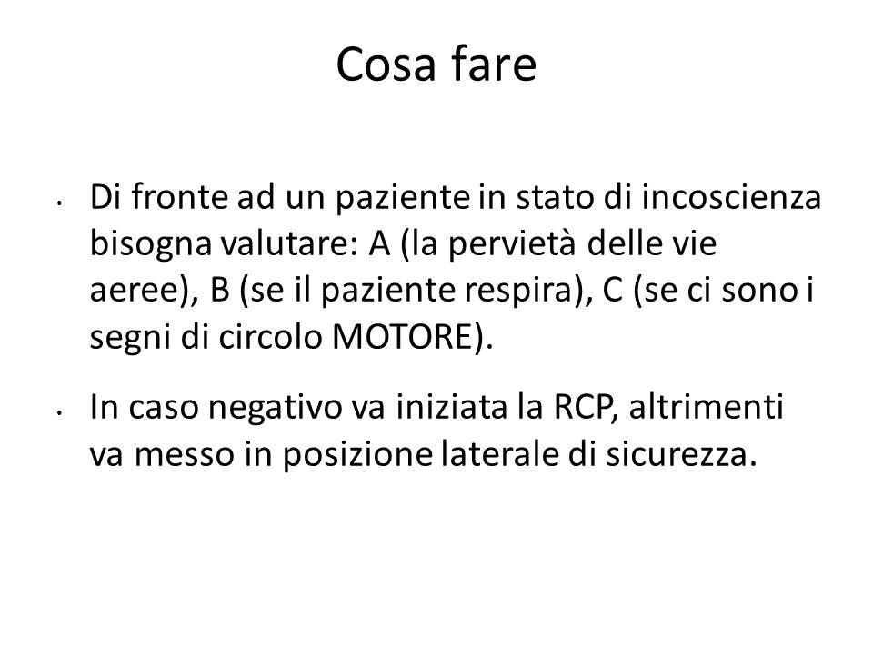 GLASGOW COMA SCALE (GCS) Apertura degli occhi: - spontanea4 - allo stimolo verbale3 - allo stimolo doloroso2 - assente1 Risposta verbale: - appropriata5 - confusa4 - inappropriata3 - incomprensibile2 - assente1 Risposta motoria: - esegue su richiesta6 - localizza il dolore5 - allontana il dolore4 - flette3 - estende2 - nessuna risposta1 Totale 3-15