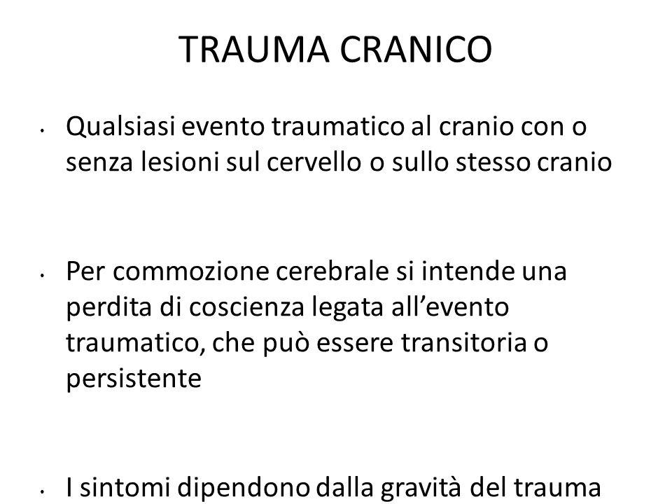 Classificazione del trauma cranico Ricordare il GCS!.