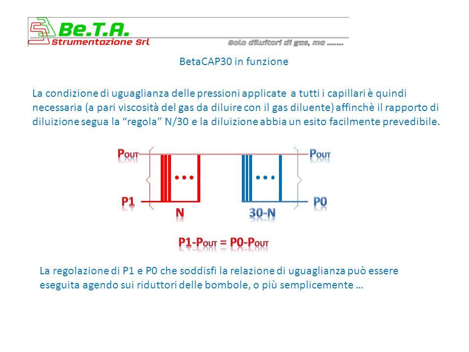 BetaCAP30 in funzione La condizione di uguaglianza delle pressioni applicate a tutti i capillari è quindi necessaria (a pari viscosità del gas da diluire con il gas diluente) affinchè il rapporto di diluizione segua la regola N/30 e la diluizione abbia un esito facilmente prevedibile.