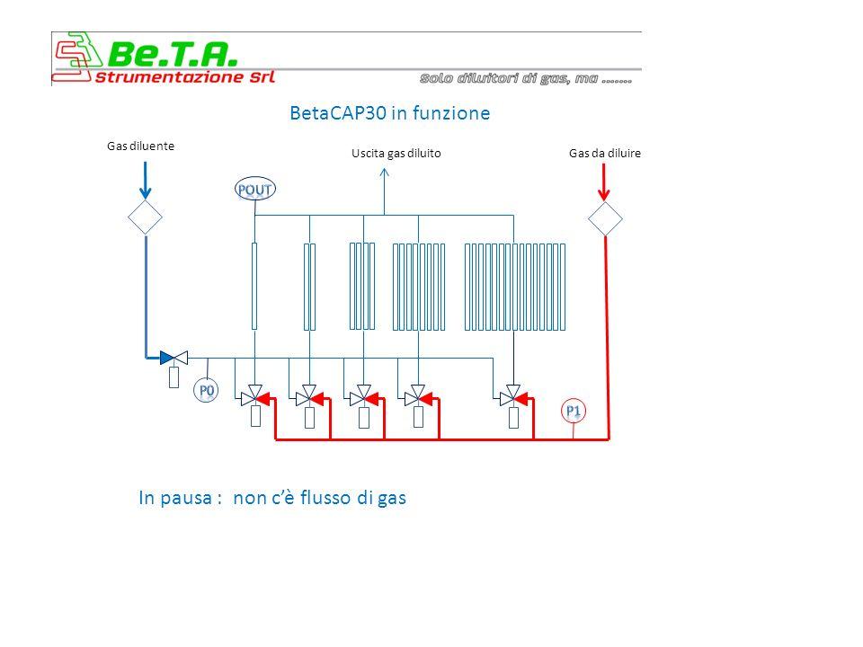 BetaCAP30 in funzione Uscita gas diluito Gas diluenteGas da diluire …utilizzando il modulo Regolazione Automatica delle Pressioni Le due valvole di regolazione sono controllate automaticamente in modo PID per mantenere le pressioni P1 – Pout e P0 – Pout al valore voluto