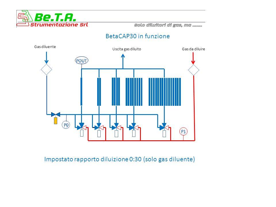BetaCAP30 in funzione Impostato rapporto diluizione 0:30 (solo gas diluente) Gas diluente Uscita gas diluitoGas da diluire