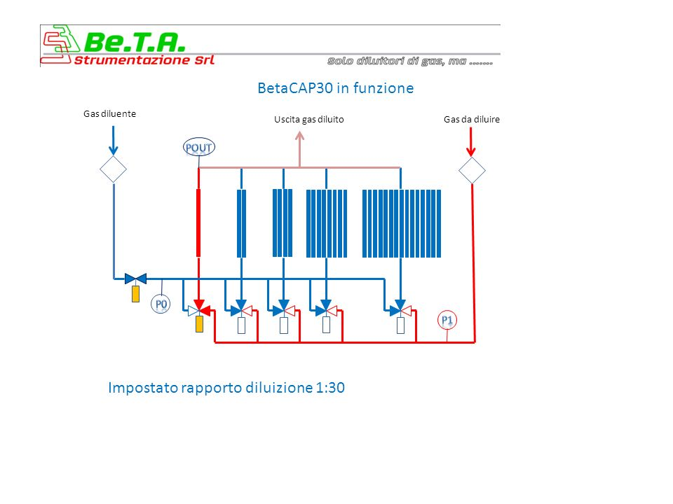 BetaCAP30 in funzione Impostato rapporto diluizione 2:30 Gas diluente Uscita gas diluitoGas da diluire