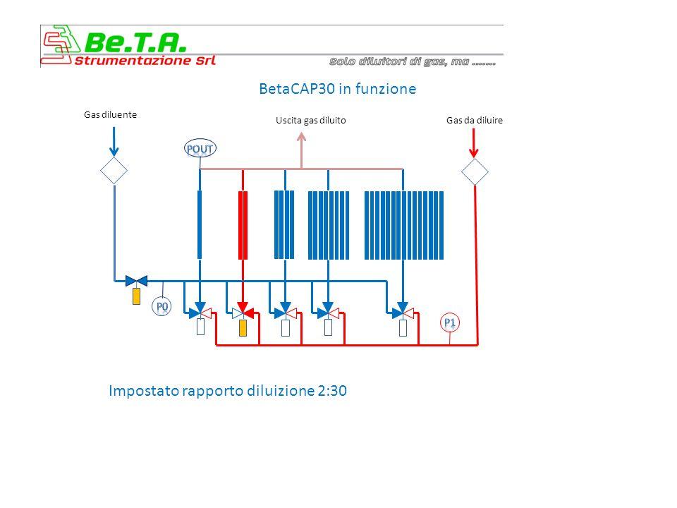 BetaCAP30 in funzione Impostato rapporto diluizione 3:30 Gas diluente Uscita gas diluitoGas da diluire