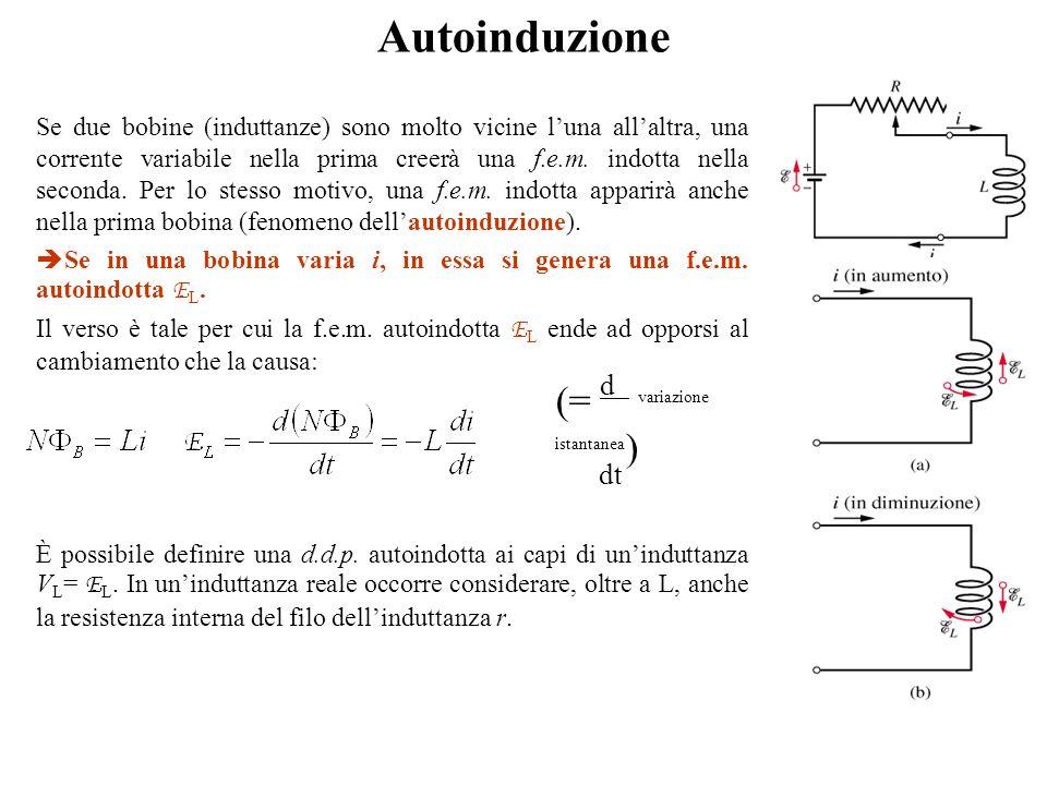 Se due bobine (induttanze) sono molto vicine l'una all'altra, una corrente variabile nella prima creerà una f.e.m. indotta nella seconda. Per lo stess