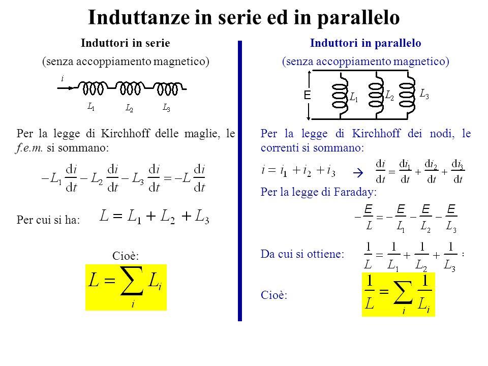 Induttanze in serie ed in parallelo Induttori in serie (senza accoppiamento magnetico) Per la legge di Kirchhoff delle maglie, le f.e.m. si sommano: P