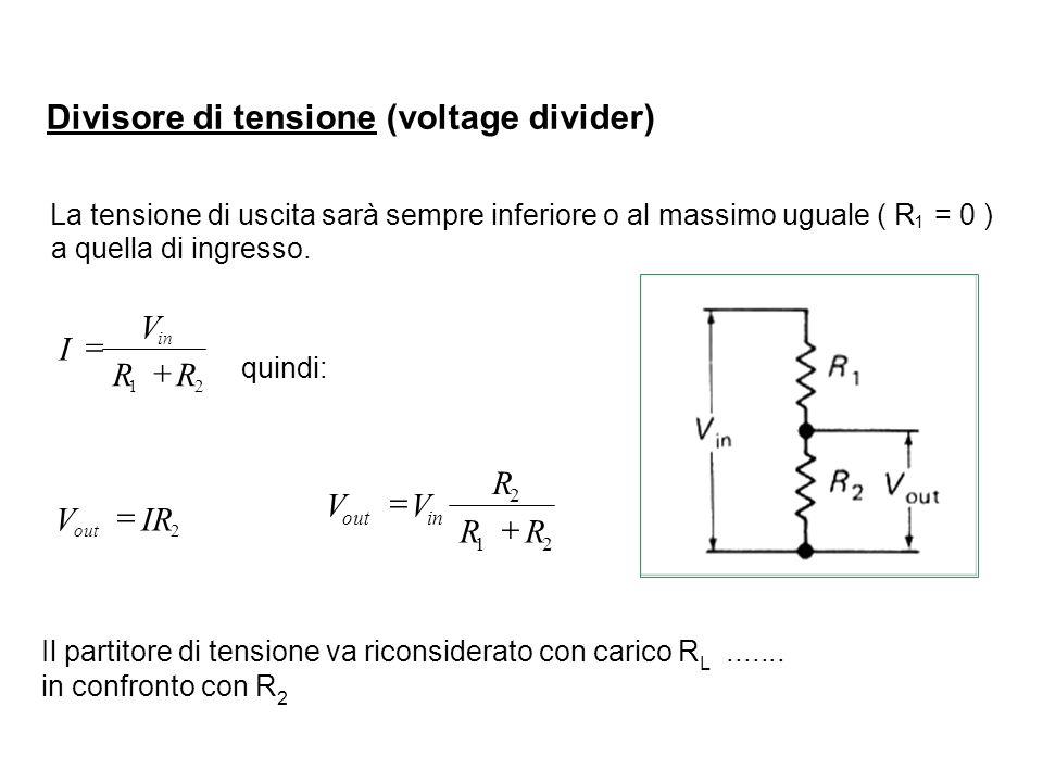 Divisore di tensione (voltage divider) La tensione di uscita sarà sempre inferiore o al massimo uguale ( R 1 = 0 ) a quella di ingresso. 21 RR V I in