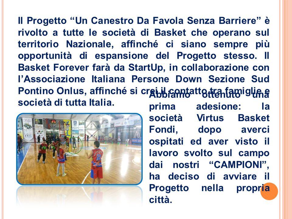 Il Progetto Un Canestro Da Favola Senza Barriere è rivolto a tutte le società di Basket che operano sul territorio Nazionale, affinché ci siano sempre più opportunità di espansione del Progetto stesso.