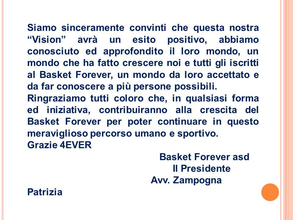 Siamo sinceramente convinti che questa nostra Vision avrà un esito positivo, abbiamo conosciuto ed approfondito il loro mondo, un mondo che ha fatto crescere noi e tutti gli iscritti al Basket Forever, un mondo da loro accettato e da far conoscere a più persone possibili.