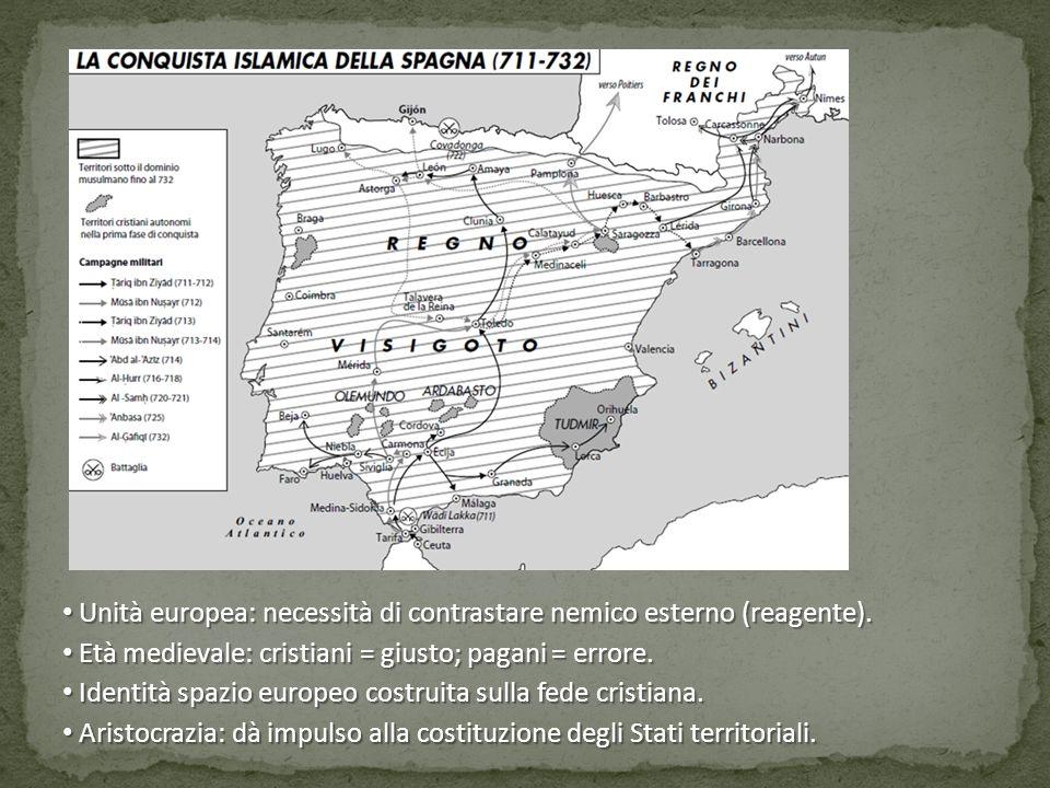 Unità europea: necessità di contrastare nemico esterno (reagente). Unità europea: necessità di contrastare nemico esterno (reagente). Età medievale: c