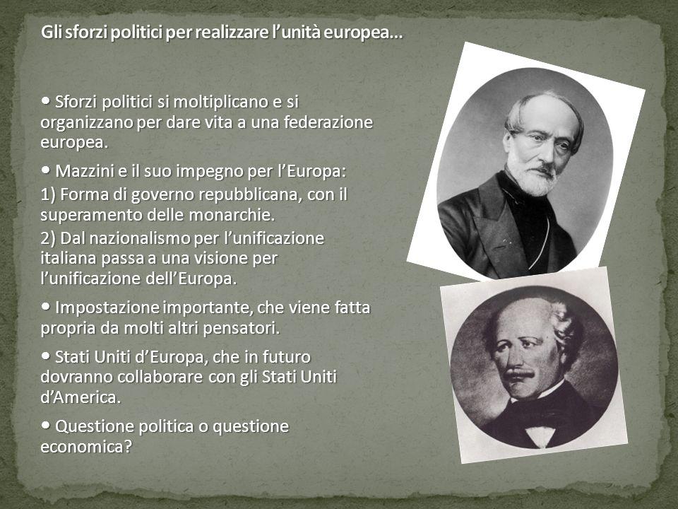 Sforzi politici si moltiplicano e si organizzano per dare vita a una federazione europea. Sforzi politici si moltiplicano e si organizzano per dare vi