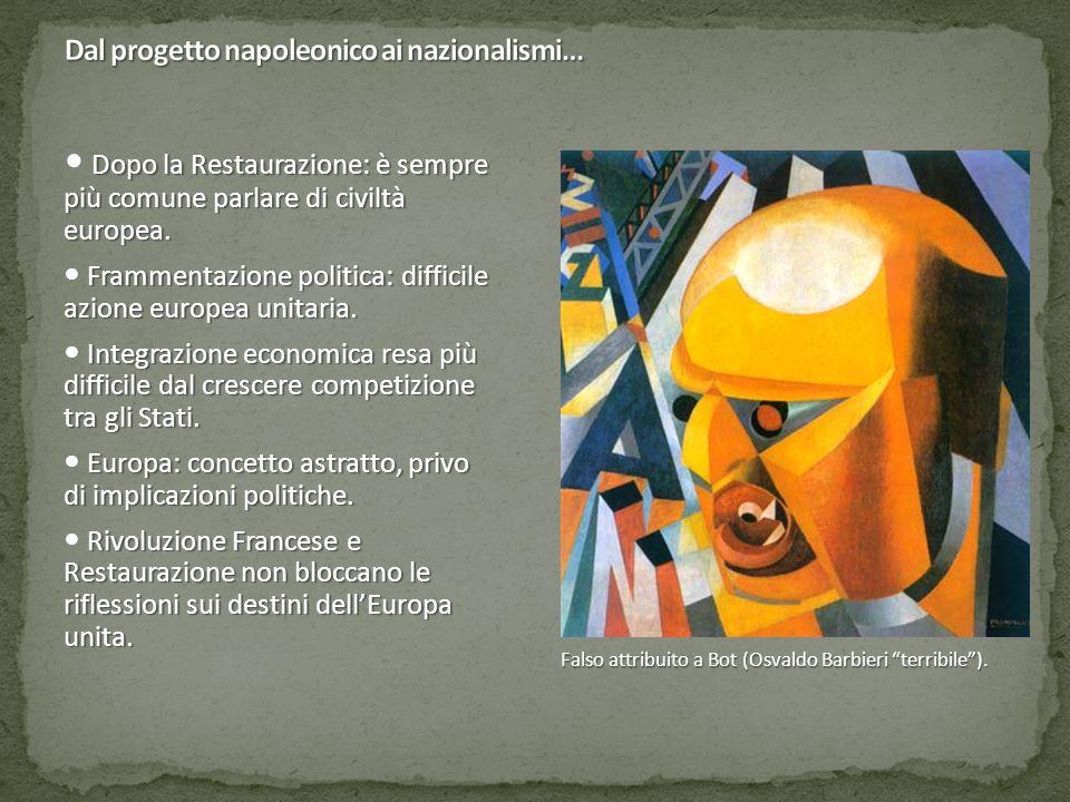 """Falso attribuito a Bot (Osvaldo Barbieri """"terribile""""). Dopo la Restaurazione: è sempre più comune parlare di civiltà europea. Frammentazione politica:"""