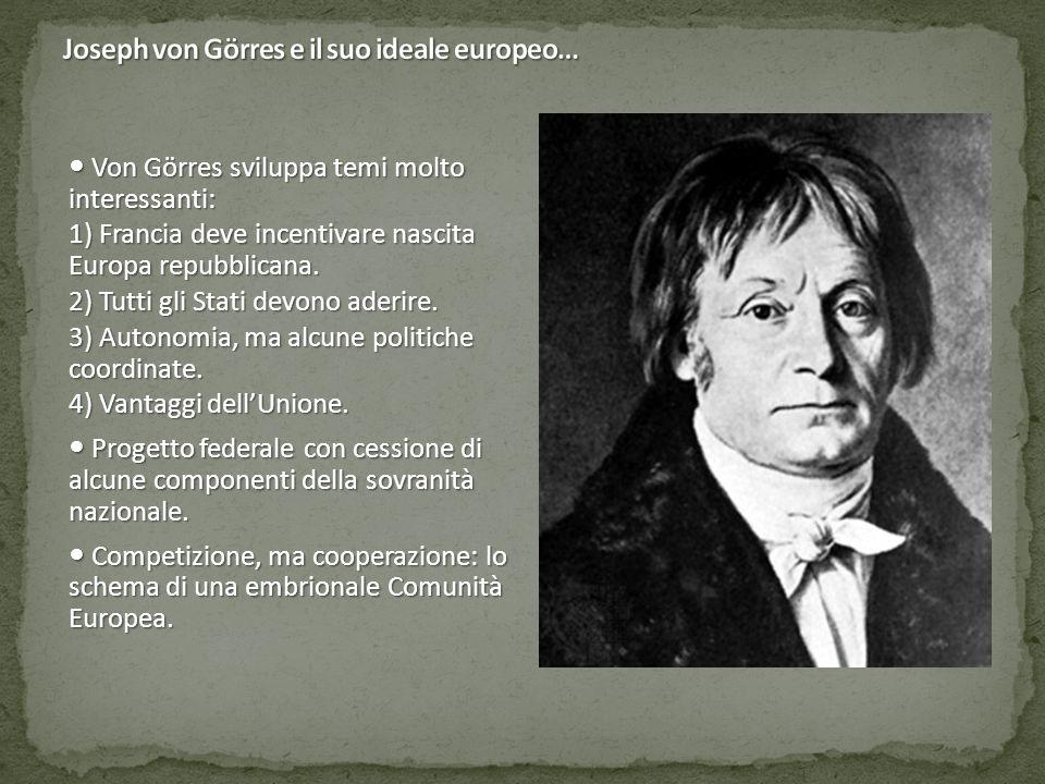 Von Görres sviluppa temi molto interessanti: Von Görres sviluppa temi molto interessanti: 1) Francia deve incentivare nascita Europa repubblicana. 2)