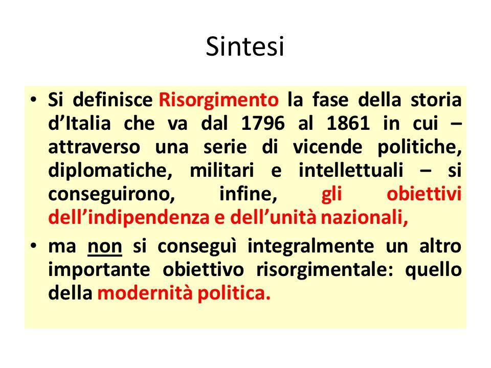 Sintesi Si definisce Risorgimento la fase della storia d'Italia che va dal 1796 al 1861 in cui – attraverso una serie di vicende politiche, diplomatic