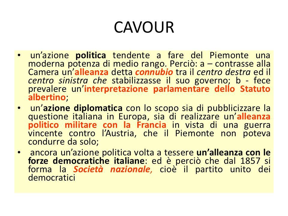 CAVOUR un'azione politica tendente a fare del Piemonte una moderna potenza di medio rango. Perciò: a – contrasse alla Camera un'alleanza detta connubi