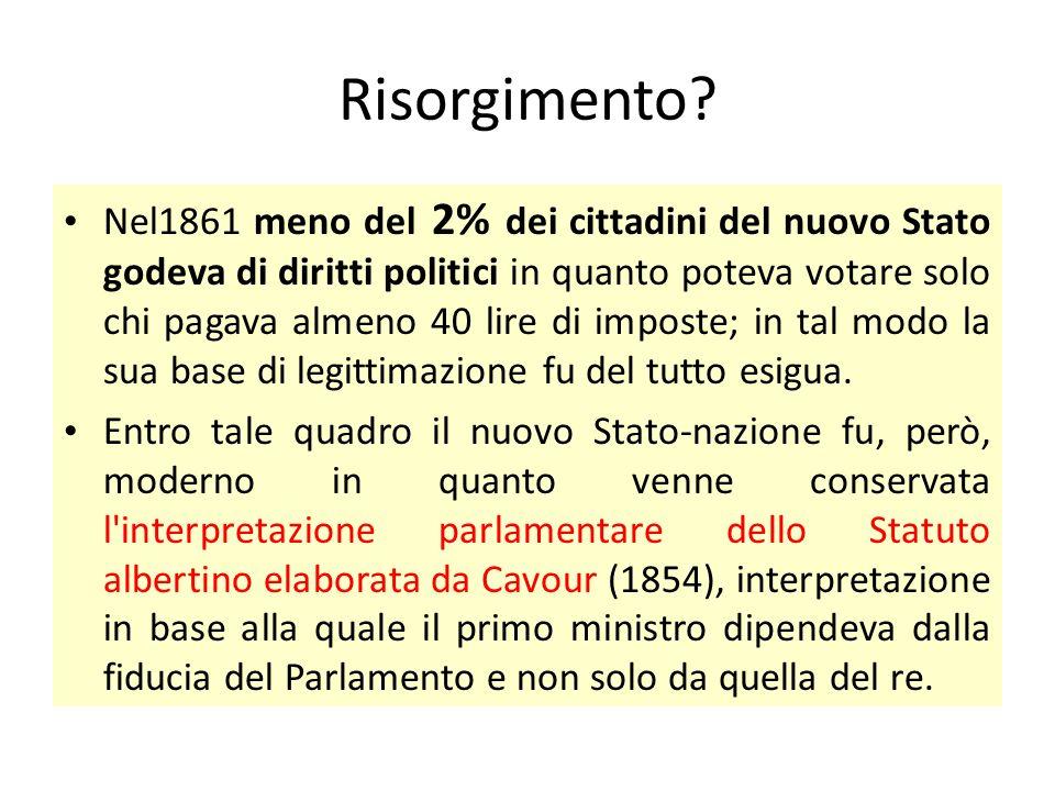 Risorgimento? Nel1861 meno del 2% dei cittadini del nuovo Stato godeva di diritti politici in quanto poteva votare solo chi pagava almeno 40 lire di i