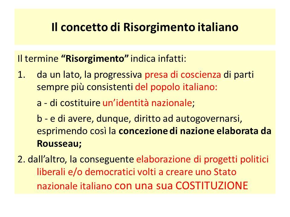 """Il concetto di Risorgimento italiano Il termine """"Risorgimento"""" indica infatti: 1.da un lato, la progressiva presa di coscienza di parti sempre più con"""