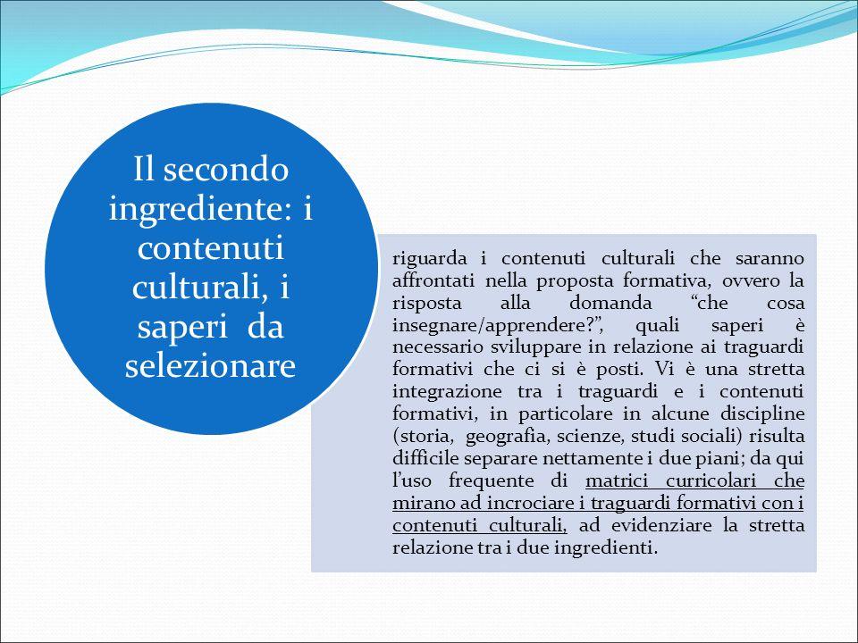 """riguarda i contenuti culturali che saranno affrontati nella proposta formativa, ovvero la risposta alla domanda """"che cosa insegnare/apprendere?"""", qual"""
