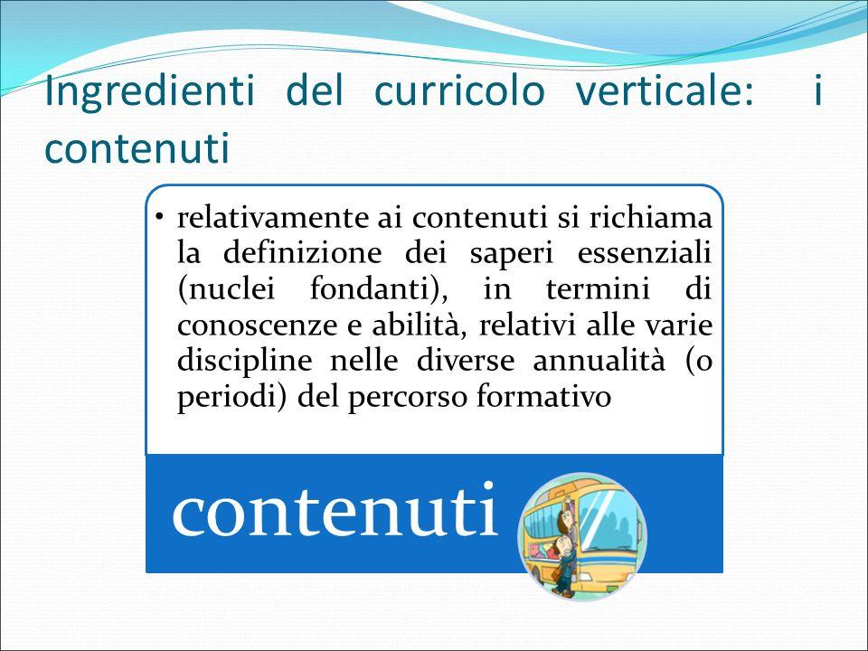 Ingredienti del curricolo verticale: i contenuti relativamente ai contenuti si richiama la definizione dei saperi essenziali (nuclei fondanti), in ter