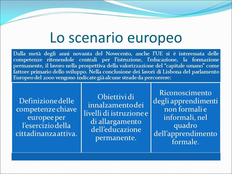 Lo scenario europeo Dalla metà degli anni novanta del Novecento, anche l'UE si è interessata delle competenze ritenendole centrali per l'istruzione, l