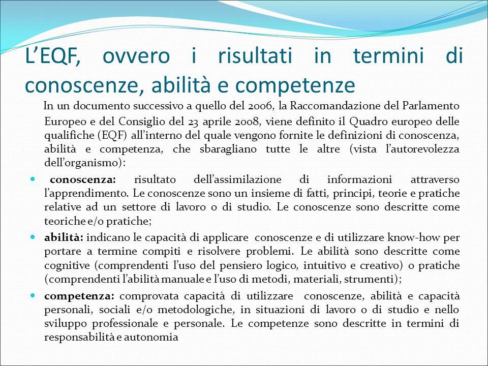 L'EQF, ovvero i risultati in termini di conoscenze, abilità e competenze In un documento successivo a quello del 2006, la Raccomandazione del Parlamen