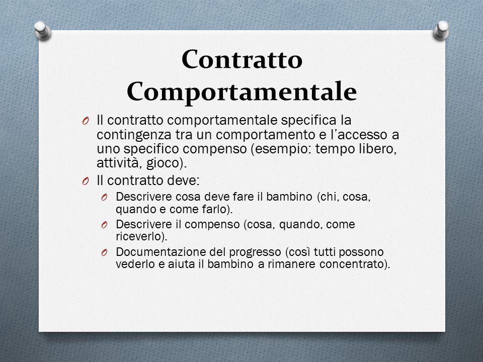 Contratto Comportamentale O Il contratto comportamentale specifica la contingenza tra un comportamento e l'accesso a uno specifico compenso (esempio: