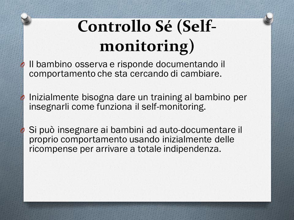 Controllo Sé (Self- monitoring) O Il bambino osserva e risponde documentando il comportamento che sta cercando di cambiare. O Inizialmente bisogna dar