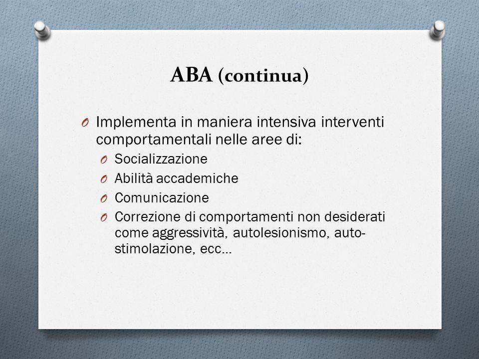 ABA (continua) O Implementa in maniera intensiva interventi comportamentali nelle aree di: O Socializzazione O Abilità accademiche O Comunicazione O C