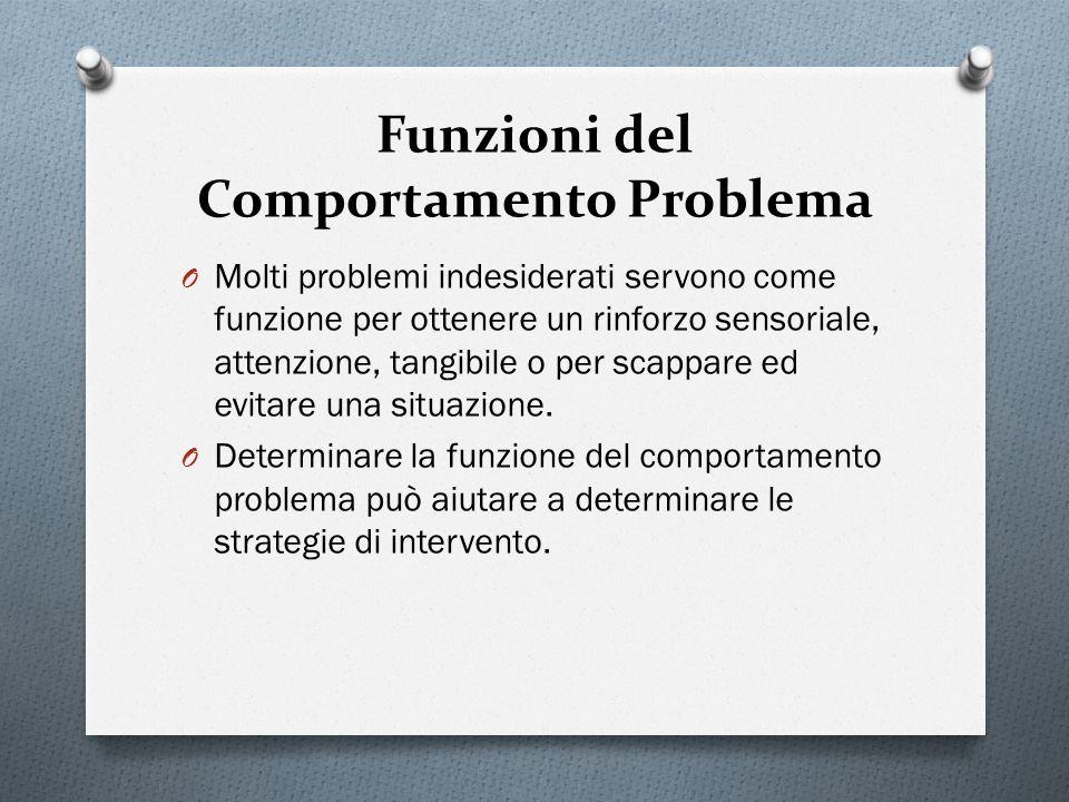 Funzioni del Comportamento Problema O Molti problemi indesiderati servono come funzione per ottenere un rinforzo sensoriale, attenzione, tangibile o p