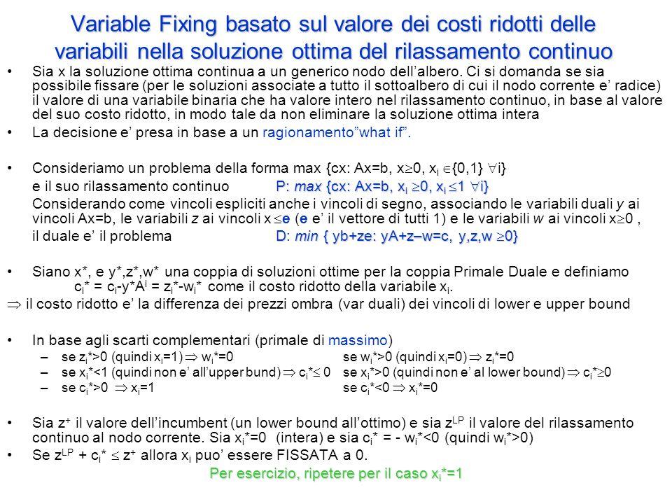 Variable Fixing basato sul valore dei costi ridotti delle variabili nella soluzione ottima del rilassamento continuo Sia x la soluzione ottima continua a un generico nodo dell'albero.