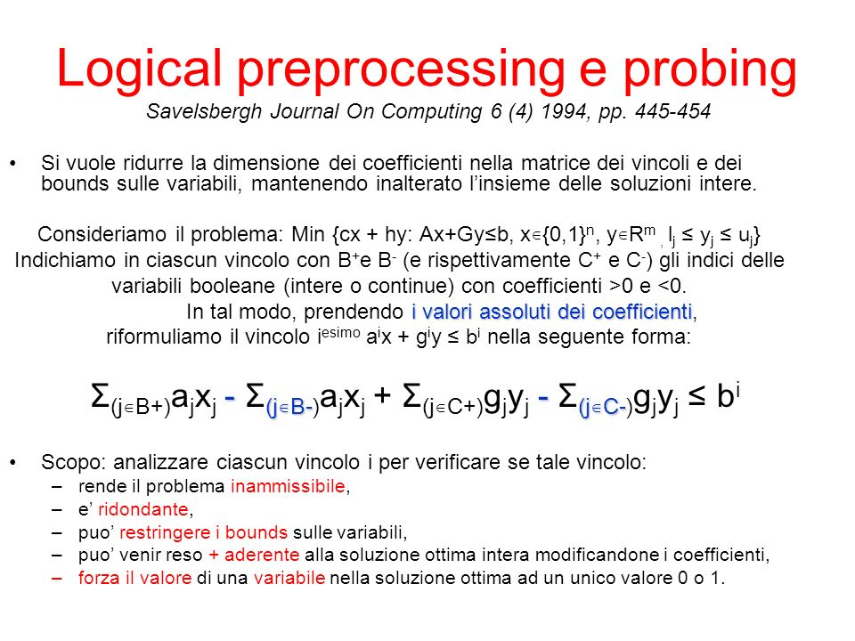 Logical preprocessing e probing Savelsbergh Journal On Computing 6 (4) 1994, pp.