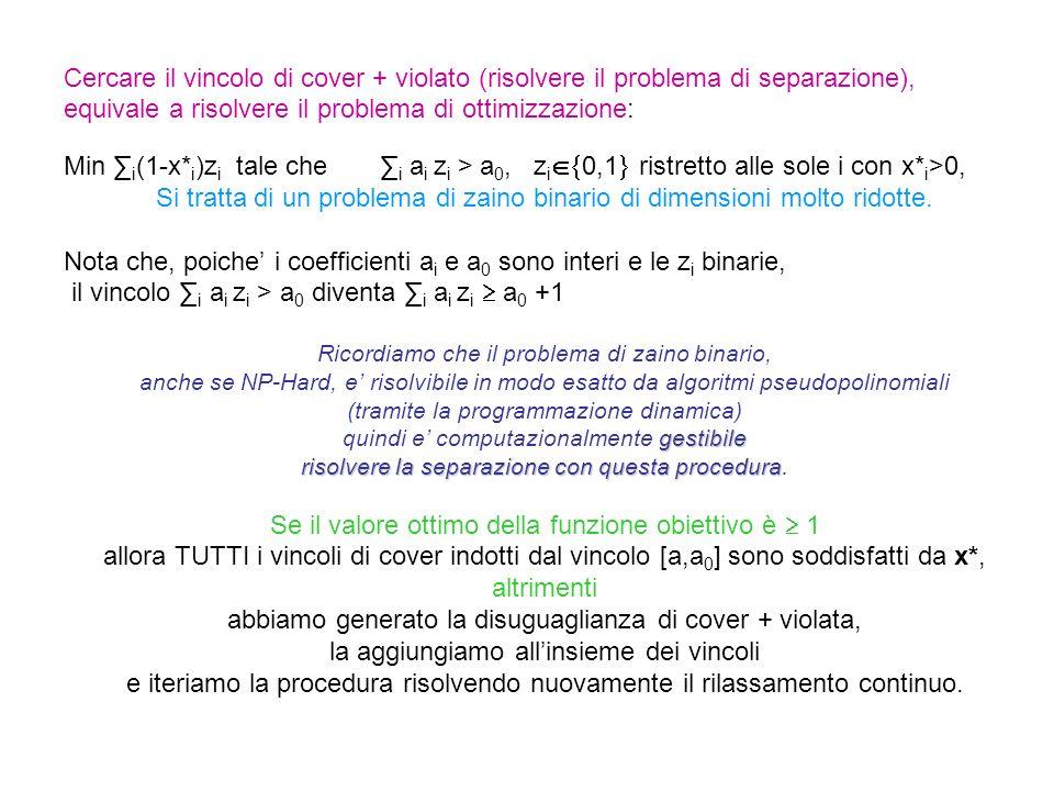 Cercare il vincolo di cover + violato (risolvere il problema di separazione), equivale a risolvere il problema di ottimizzazione: Min ∑ i (1-x* i )z i tale che ∑ i a i z i > a 0, z i  0,1  ristretto alle sole i con x* i >0, Si tratta di un problema di zaino binario di dimensioni molto ridotte.