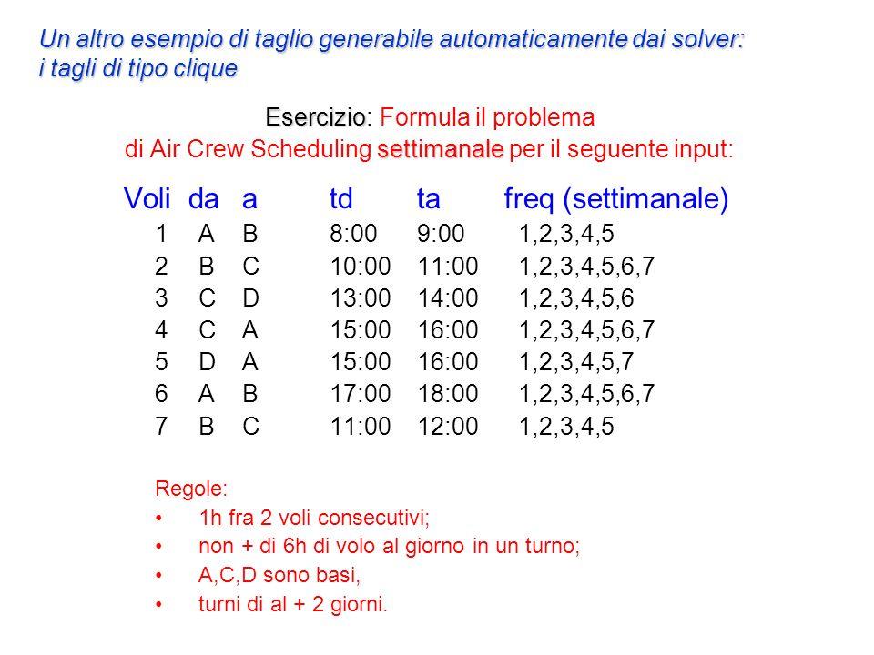 Esercizio settimanale Esercizio: Formula il problema di Air Crew Scheduling settimanale per il seguente input: Voli da a td tafreq (settimanale) 1AB8:009:00 1,2,3,4,5 2BC10:0011:00 1,2,3,4,5,6,7 3CD13:0014:00 1,2,3,4,5,6 4CA15:0016:00 1,2,3,4,5,6,7 5DA15:0016:00 1,2,3,4,5,7 6AB17:0018:00 1,2,3,4,5,6,7 7BC11:0012:00 1,2,3,4,5 Regole: 1h fra 2 voli consecutivi; non + di 6h di volo al giorno in un turno; A,C,D sono basi, turni di al + 2 giorni.