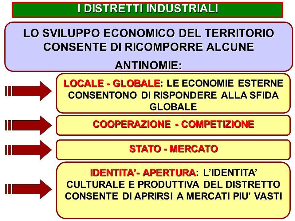 18 LOCALE - GLOBALE: LE ECONOMIE ESTERNE CONSENTONO DI RISPONDERE ALLA SFIDA GLOBALE I DISTRETTI INDUSTRIALI LO SVILUPPO ECONOMICO DEL TERRITORIO CONSENTE DI RICOMPORRE ALCUNE ANTINOMIE: IDENTITA'- APERTURA: L'IDENTITA' CULTURALE E PRODUTTIVA DEL DISTRETTO CONSENTE DI APRIRSI A MERCATI PIU' VASTI COOPERAZIONE - COMPETIZIONE STATO - MERCATO