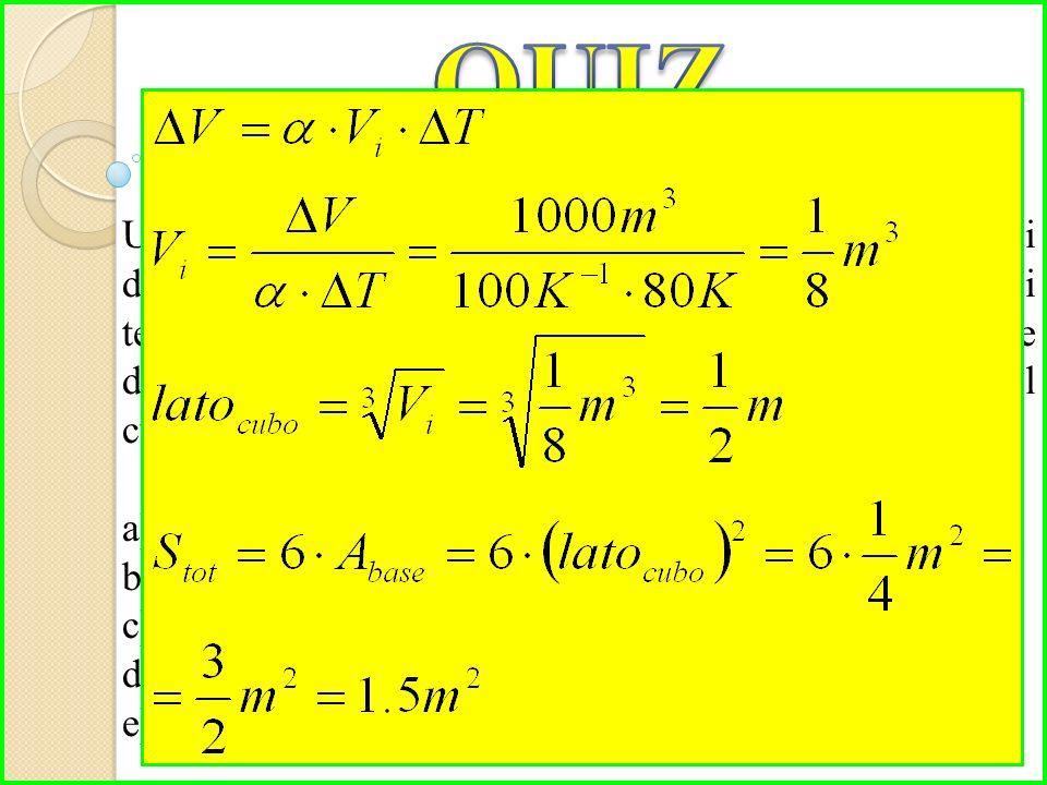 Un cubo di un materiale il cui coefficiente di dilatazione volumica è 100 K -1, subisce un aumento di temperatura pari a 80°C che fa aumentare il suo volume di 1000 m 3.