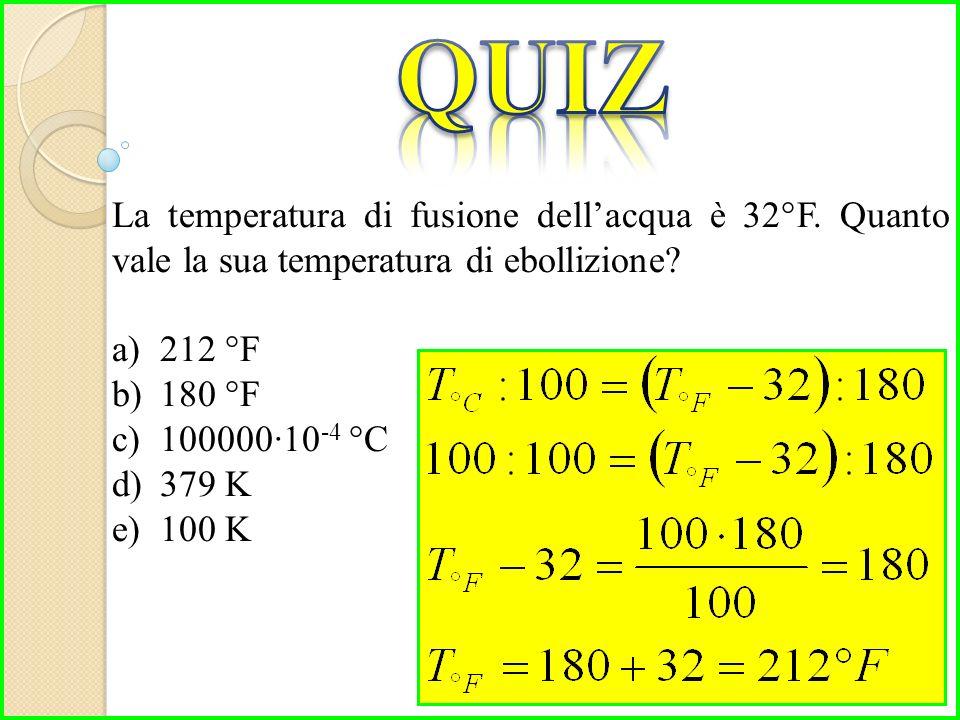 La temperatura di fusione dell'acqua è 32°F. Quanto vale la sua temperatura di ebollizione.