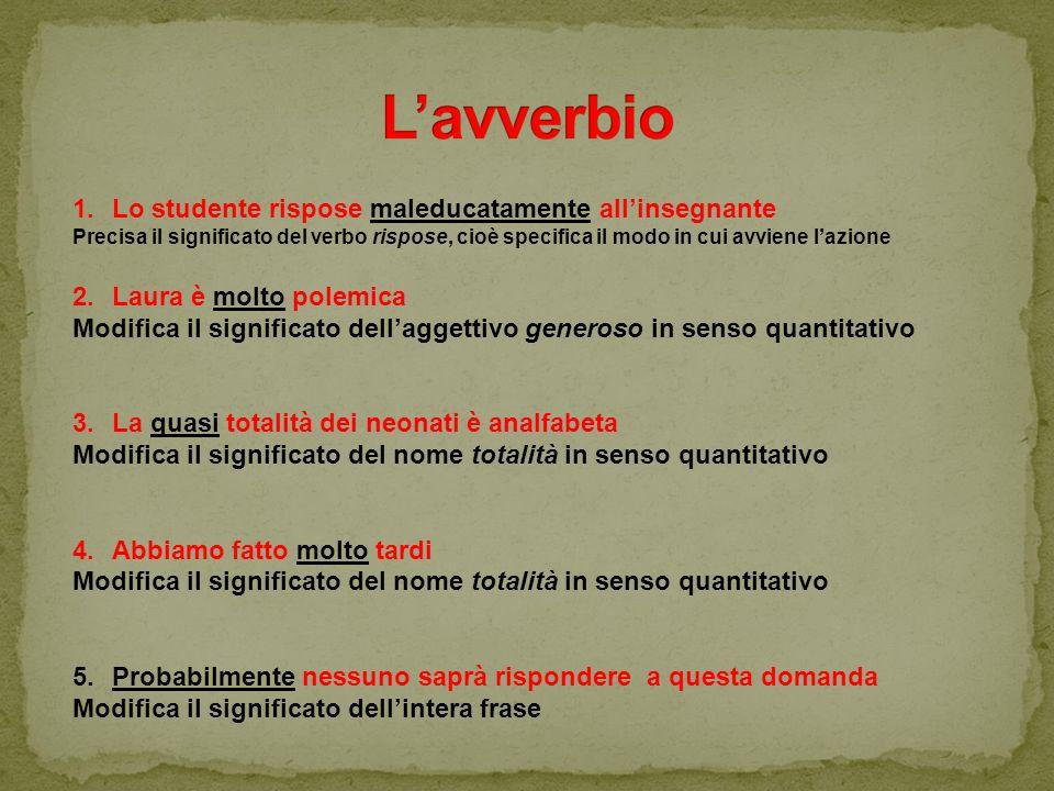 1.Lo studente rispose maleducatamente all'insegnante Precisa il significato del verbo rispose, cioè specifica il modo in cui avviene l'azione 2.Laura