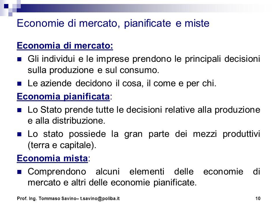 10 Economie di mercato, pianificate e miste Economia di mercato: Gli individui e le imprese prendono le principali decisioni sulla produzione e sul co