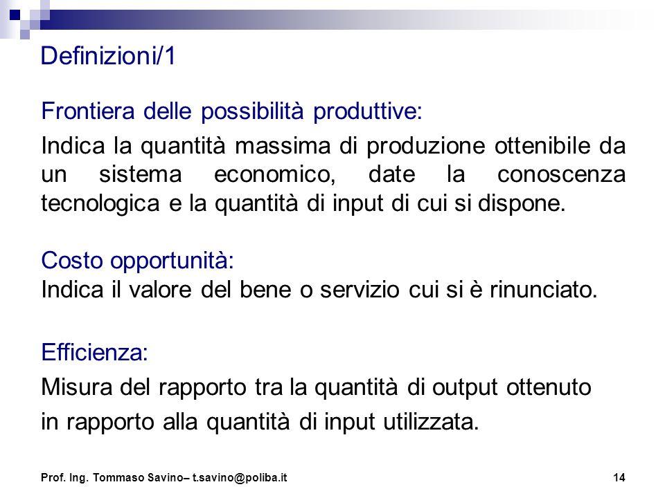 14 Definizioni/1 Frontiera delle possibilità produttive: Indica la quantità massima di produzione ottenibile da un sistema economico, date la conoscen