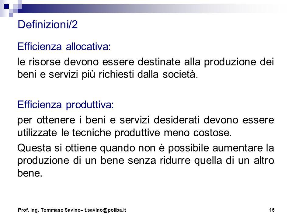 15 Definizioni/2 Efficienza allocativa: le risorse devono essere destinate alla produzione dei beni e servizi più richiesti dalla società. Efficienza