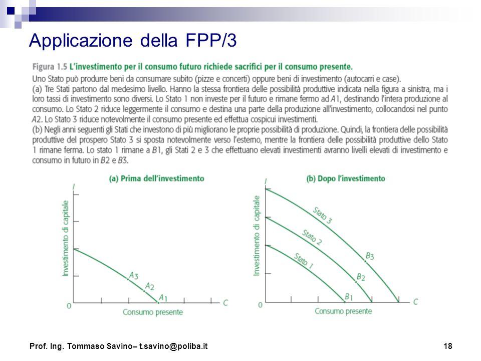 18 Applicazione della FPP/3 Prof. Ing. Tommaso Savino– t.savino@poliba.it