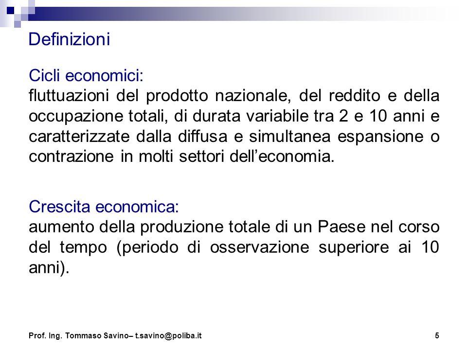 5 Definizioni Cicli economici: fluttuazioni del prodotto nazionale, del reddito e della occupazione totali, di durata variabile tra 2 e 10 anni e cara