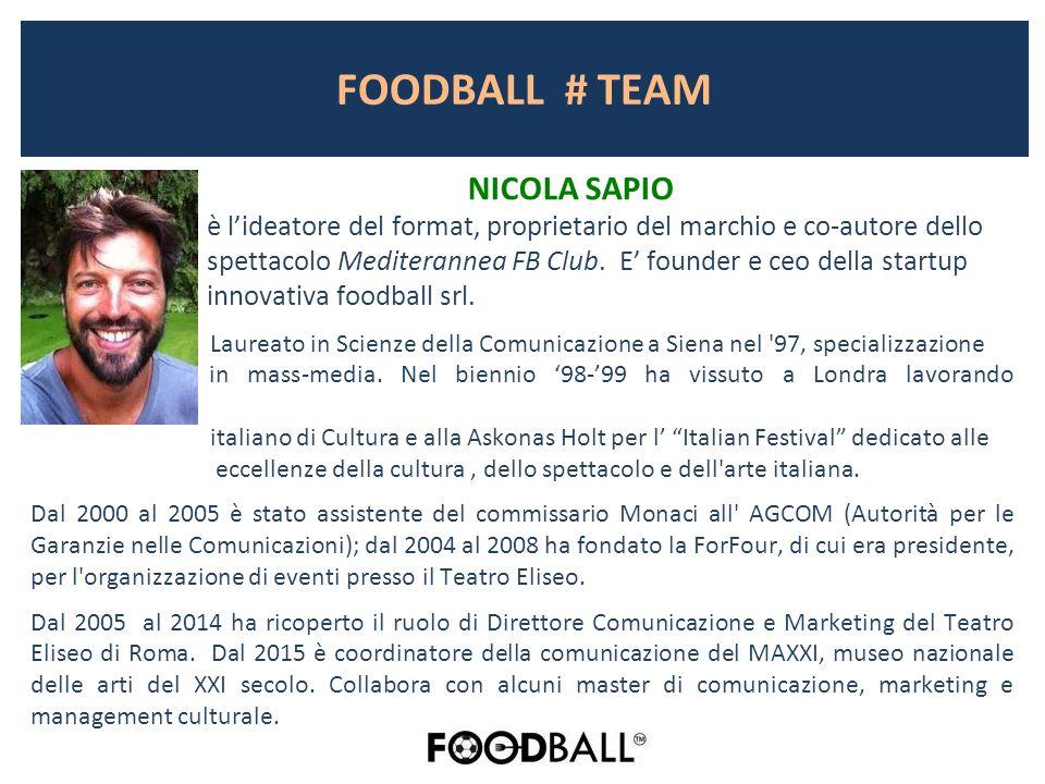 FOODBALL # TEAM NICOLA SAPIO è l'ideatore del format, proprietario del marchio e co-autore dello spettacolo Mediterannea FB Club.