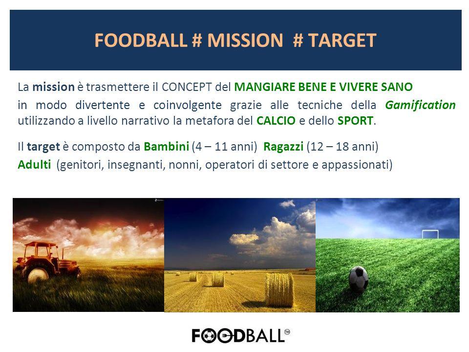 FOODBALL # MISSION # TARGET La mission è trasmettere il CONCEPT del MANGIARE BENE E VIVERE SANO in modo divertente e coinvolgente grazie alle tecniche della Gamification utilizzando a livello narrativo la metafora del CALCIO e dello SPORT.