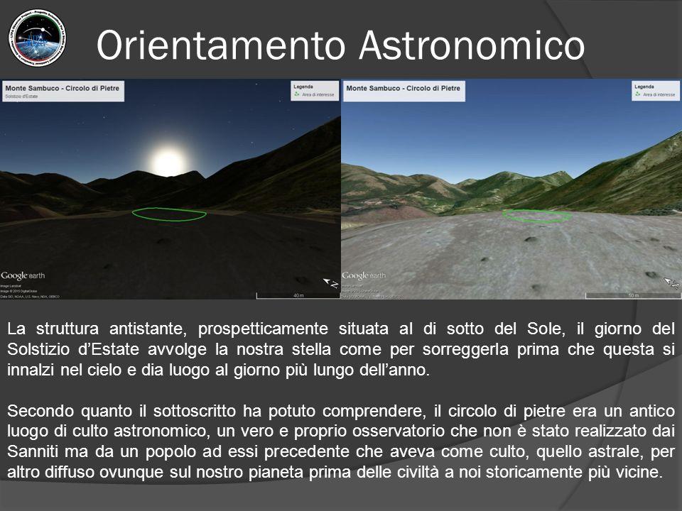 Orientamento Astronomico La struttura antistante, prospetticamente situata al di sotto del Sole, il giorno del Solstizio d'Estate avvolge la nostra st