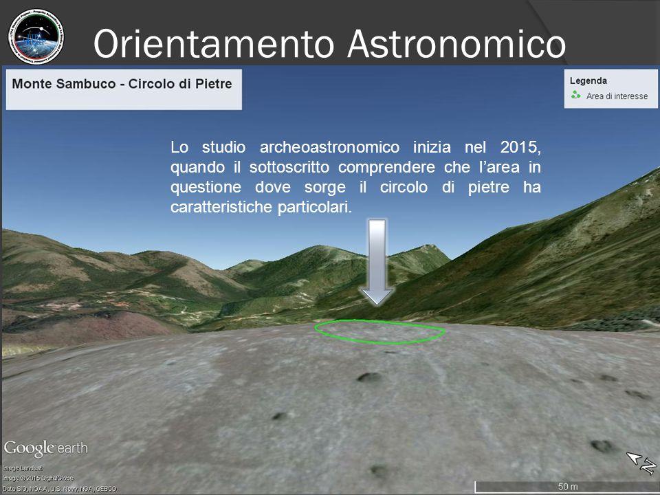 Orientamento Astronomico Lo studio archeoastronomico inizia nel 2015, quando il sottoscritto comprendere che l'area in questione dove sorge il circolo