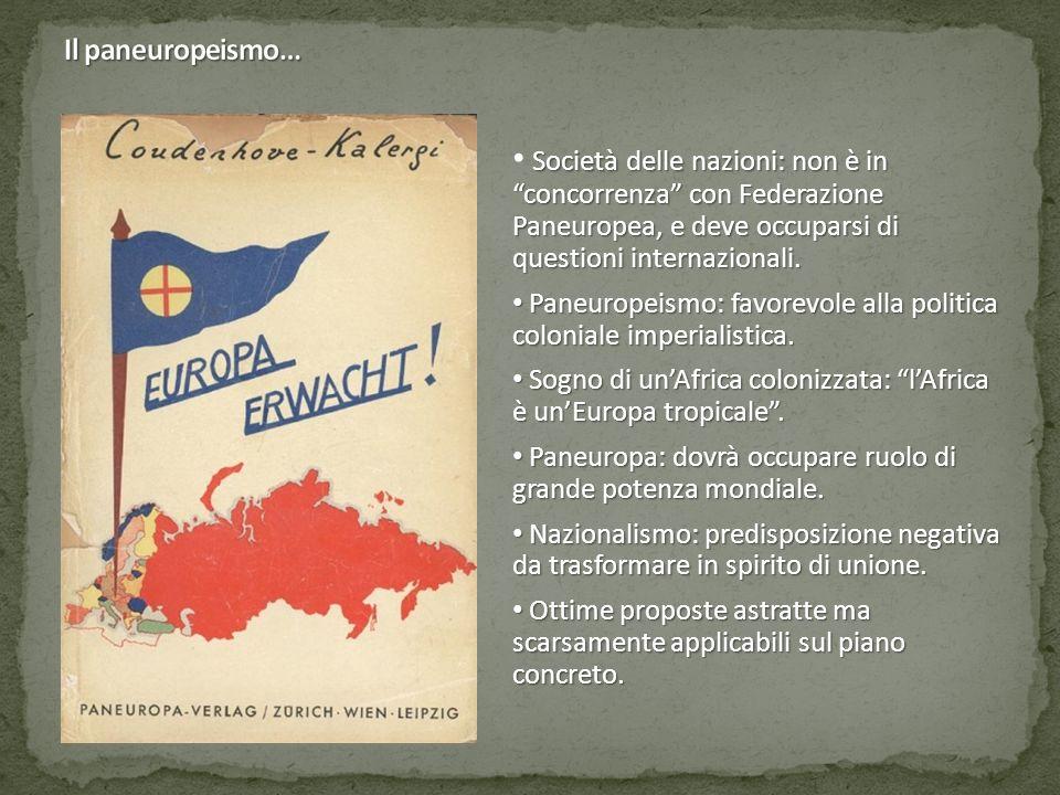 Società delle nazioni: non è in concorrenza con Federazione Paneuropea, e deve occuparsi di questioni internazionali.