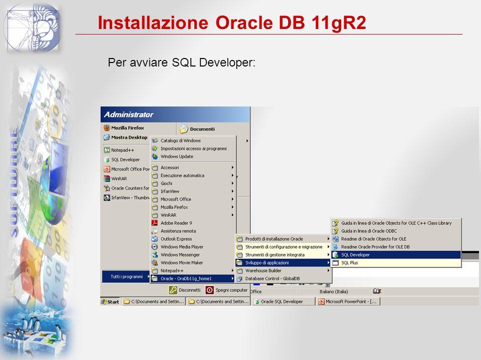 Per avviare SQL Developer: