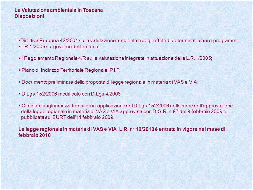 La Valutazione ambientale in Toscana Disposizioni Direttiva Europea 42/2001 sulla valutazione ambientale degli effetti di determinati piani e programmi; L.R.1/2005 sul governo del territorio; Il Regolamento Regionale 4/R sulla valutazione integrata in attuazione della L.R.1/2005; Piano di Indirizzo Territoriale Regionale P.I.T.; Documento preliminare della proposta di legge regionale in materia di VAS e VIA; D.Lgs.152/2006 modificato con D.Lgs.4/2008; Circolare sugli indirizzi transitori in applicazione del D.Lgs.152/2006 nelle more dell'approvazione della legge regionale in materia di VAS e VIA approvata con D.G.R.