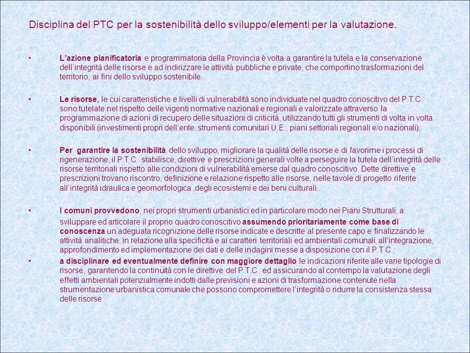 Disciplina del PTC per la sostenibilità dello sviluppo/elementi per la valutazione.